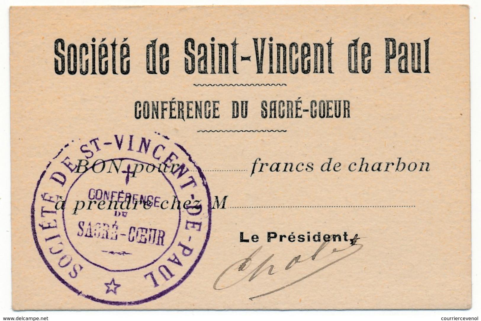 Société De Saint-Vincent De Paul - Conférence Du Sacré-Coeur - Bon Pour ____ Francs De Charbon - Vieux Papiers