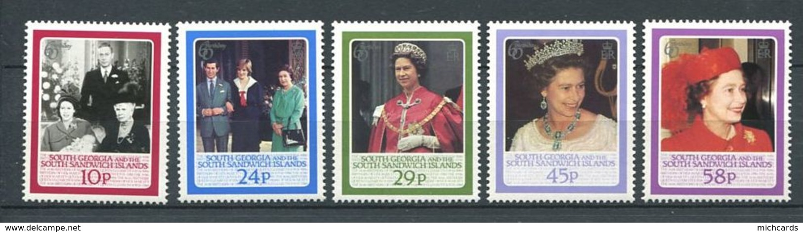 223 SUD GEORGIE 1986 - Yvert 158/62 - Portrait Reine Elizabeth - Neuf **(MNH) Sans Charniere - Géorgie Du Sud