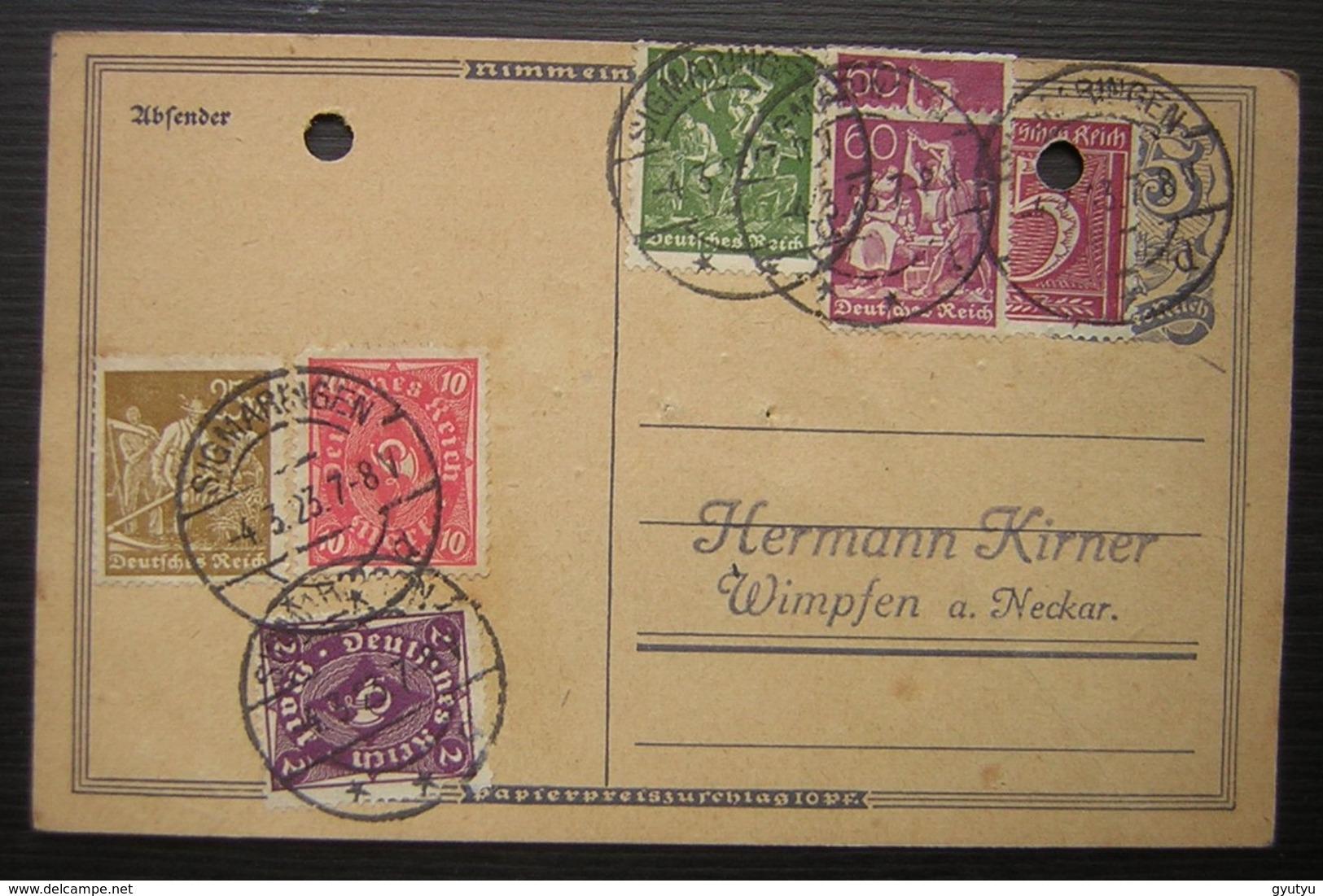 1923 Belle Oblitération Sur Une Carte De Sigmaringen (Gebhard) Pour Kirner à Wimpfen ( Deutsches Reich Allemagne) - Briefe U. Dokumente
