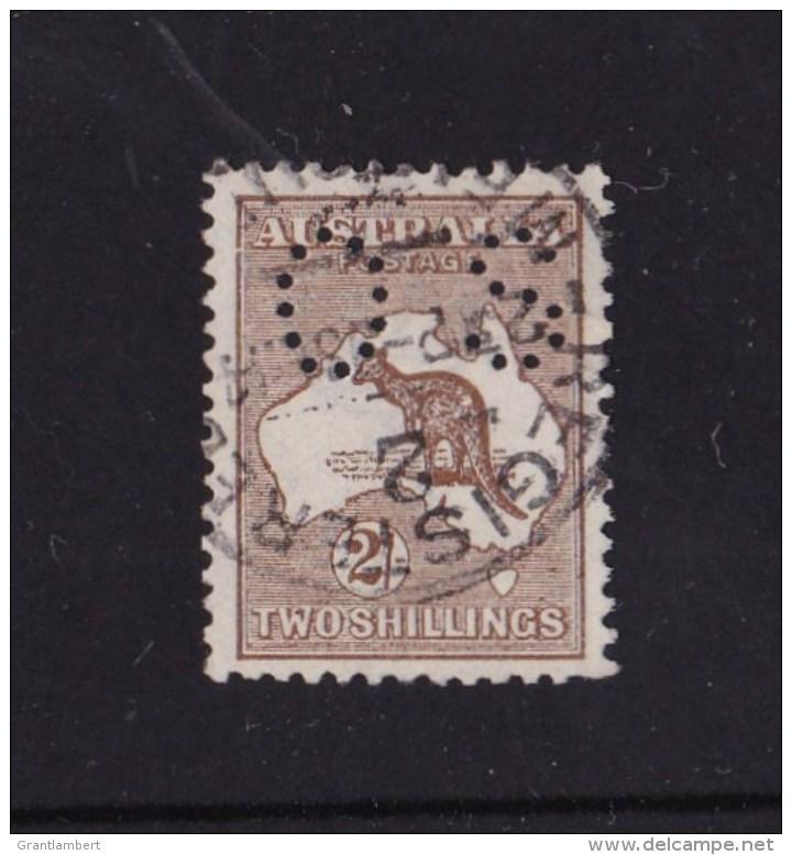 Australia 1913 Kangaroo 2/- Dark Brown 1st Wmk Perf Small OS Used - Variety - 1913-48 Kangaroos