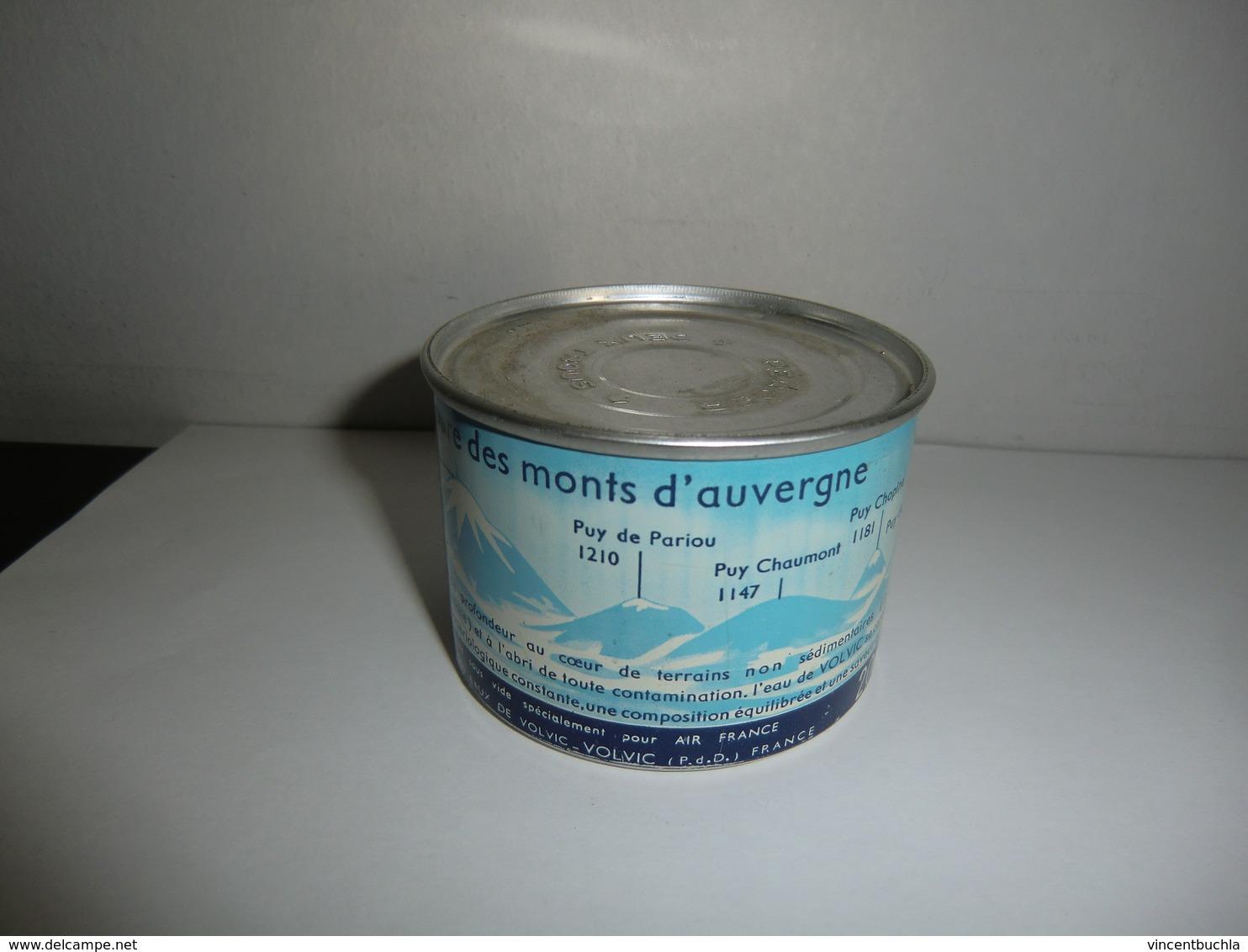Rare Boite De Conserve D'eau Volvic Pour Air France (trajet Avion) 1960 20 Cl Non Ouverte - Boxes