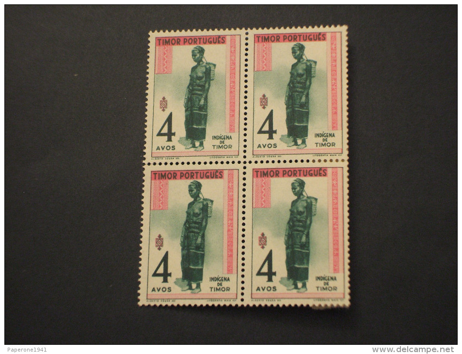 TIMOR - 1948 GUERRIERA 4 A., In Quartina(block Of Four) - NUOVI(++) - Timor Oriental