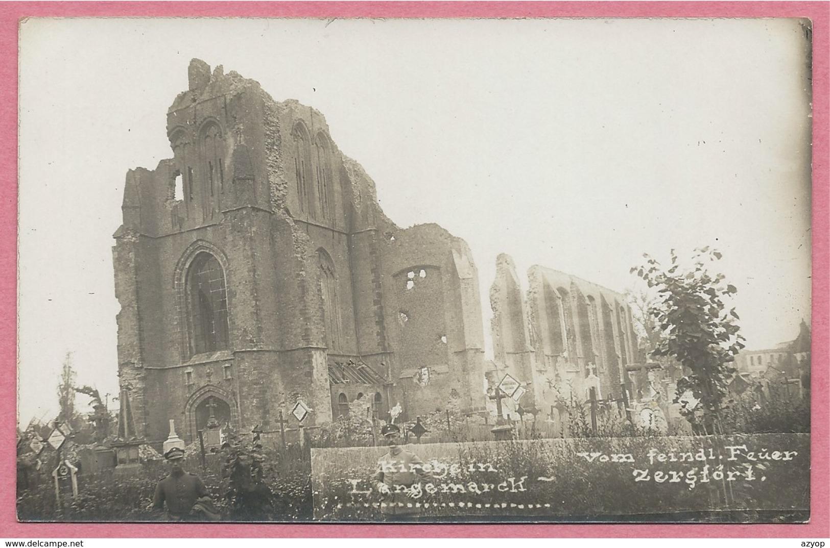 West-Vlaanderen - Flandre Occidentale - Carte Photo - Foto - LANGEMARK - Kirche - Friedhof - Guerre 14/18 - Carte N° 41 - Langemark-Poelkapelle
