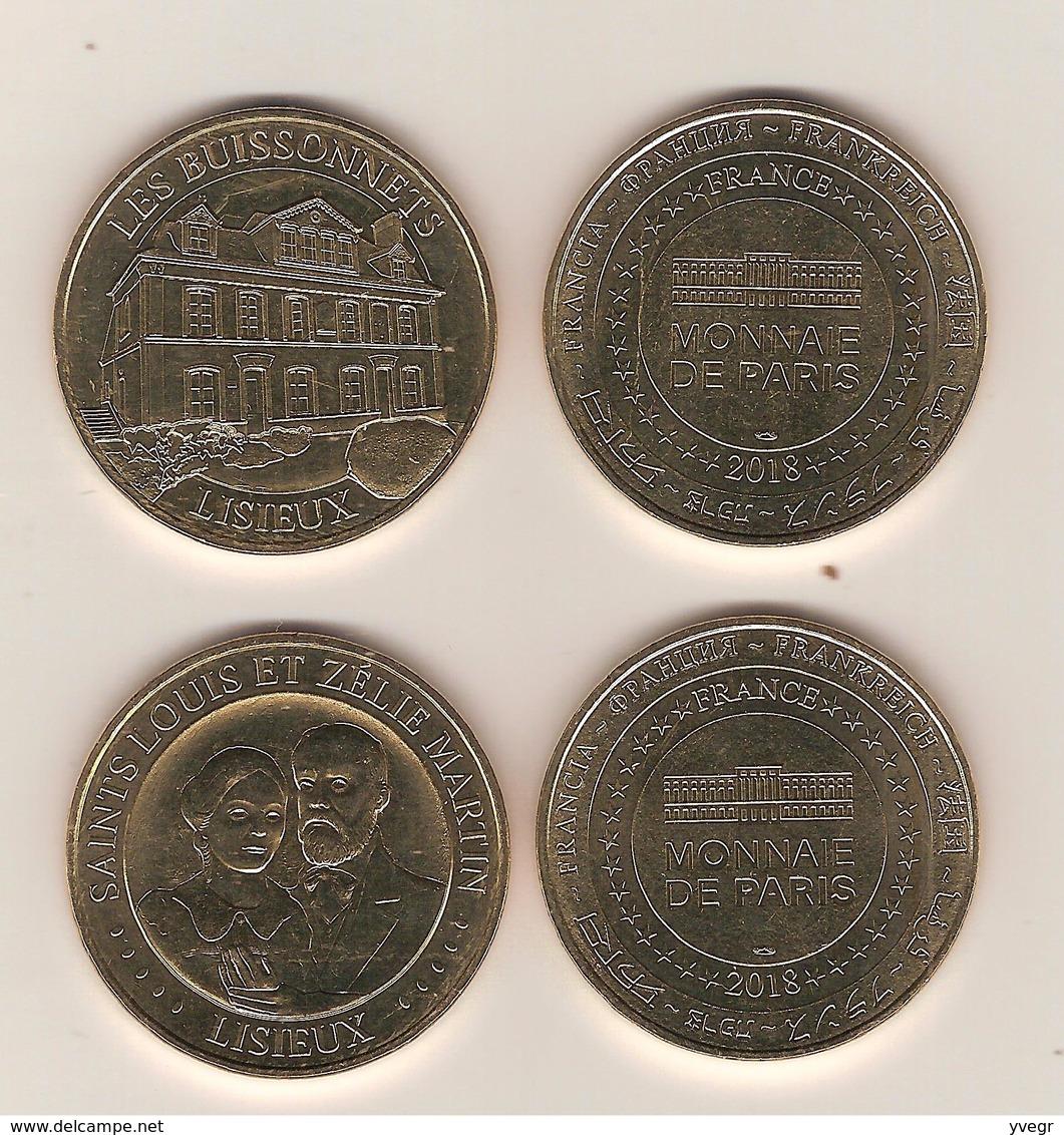 2 Médailles Touristiques - Monnaie De Paris 14 Lisieux Les Buissonnets Et Saints: Louis & Zélie Martin 2018 - Monnaie De Paris