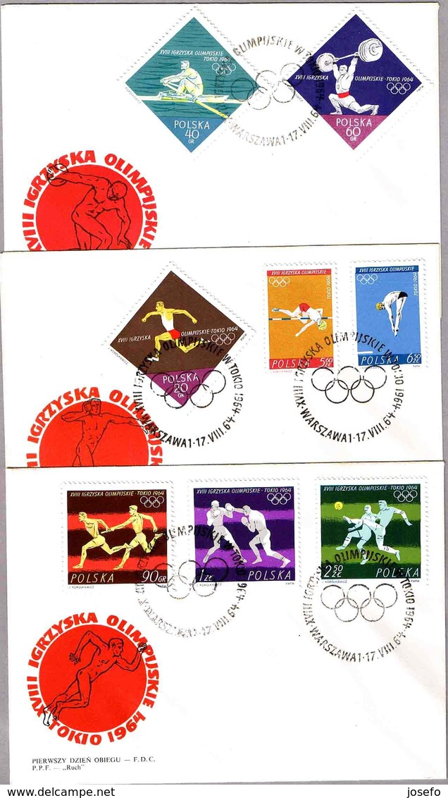 JUEGOS OLIMPICOS TOKIO 1964 - Olimpic Games. Set 3 SPD/FDC Warszawa 1964 - Summer 1964: Tokyo