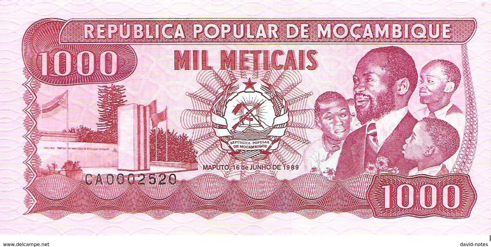 Mozambique - Pick 132c - 1000 Meticais 1989 - Unc - Mozambique