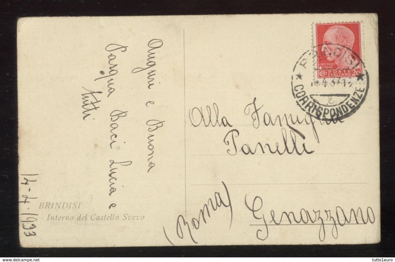 BRINDISI - 1933 - INTERNO DEL CASTELLO SVEVO - Brindisi