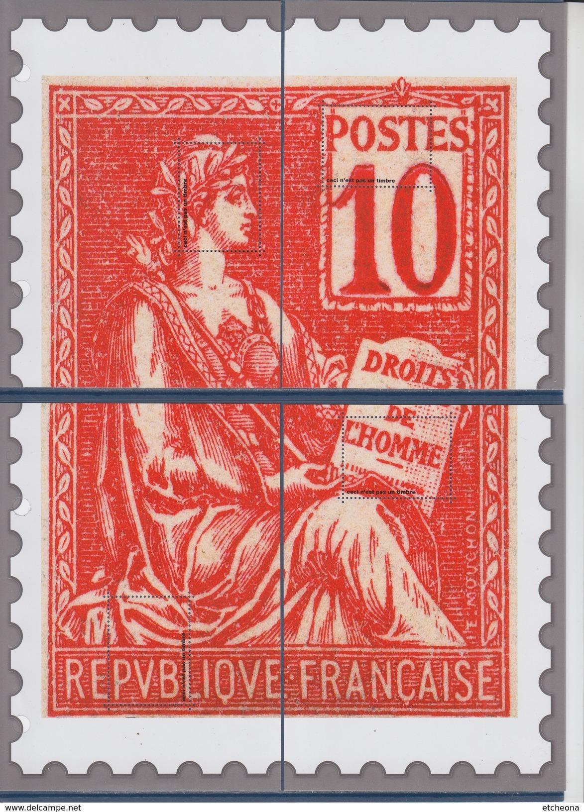 = Bloc Gommé Neuf Type Mouchon De Phil@poste Sans Valeur Faciale Les 4 Quarts Du Timbre 112 - Blocs & Feuillets