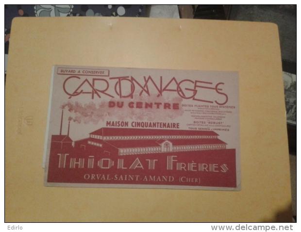 ---- BUVARD ---   Cher  *** 18 *** Cartonnages Du Centre  THIOLAT Et  Frères ORVAL  Saint AMAND TB(petits Défauts Legers - Papeterie