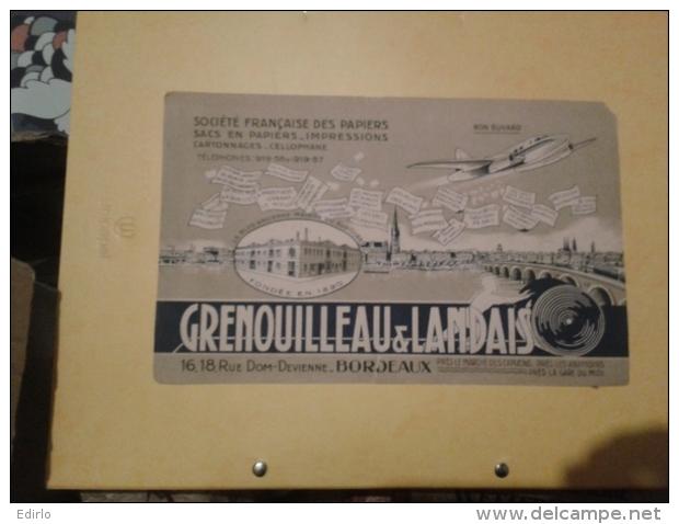 ---- BUVARD --- BORDEAUX  - GRENOUILLEAU Et LANDAIS Sacs En Papier  Petits Défauts  - - Papeterie