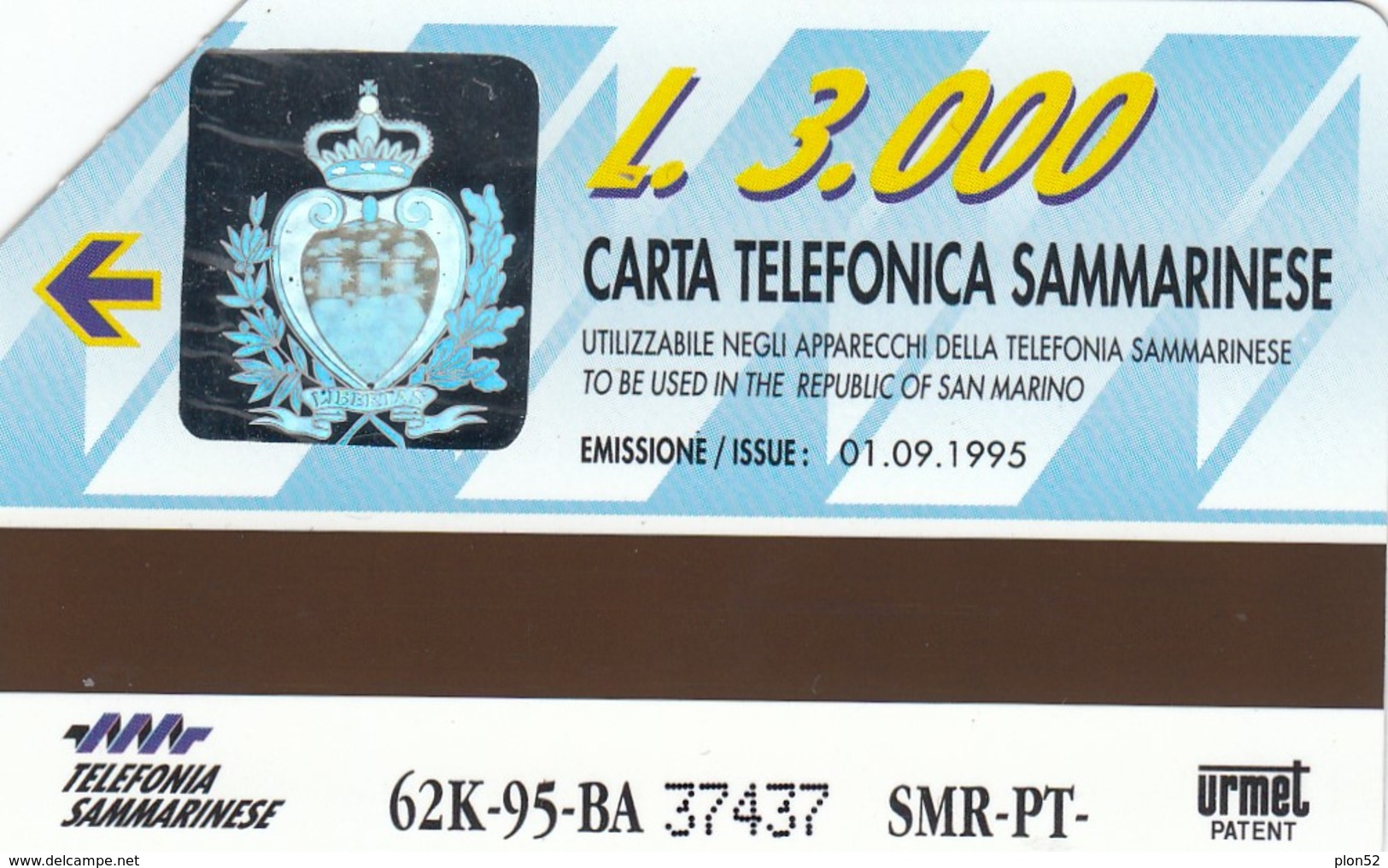 11931 - SCHEDA TELEFONICA DA L.3000 - 1995 - S.MARINO - USATA - San Marino