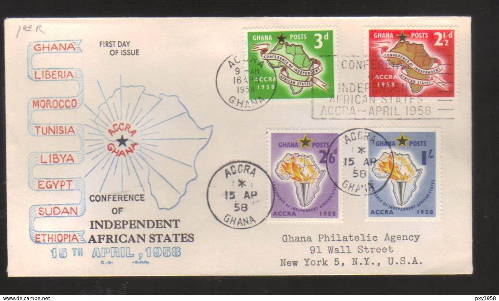 8111- Ghana , Scott 21-24 FDC - Ghana (1957-...)