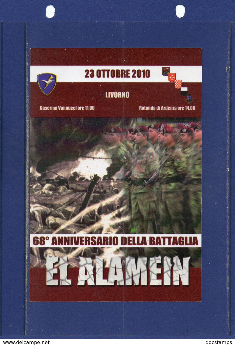 ##(DAN184/1)-ITALY-2010- 68th Anniversary Of The Battle Of El Alamein Postcard With Special Cancel - Parachuting-Folgore - Guerra 1939-45