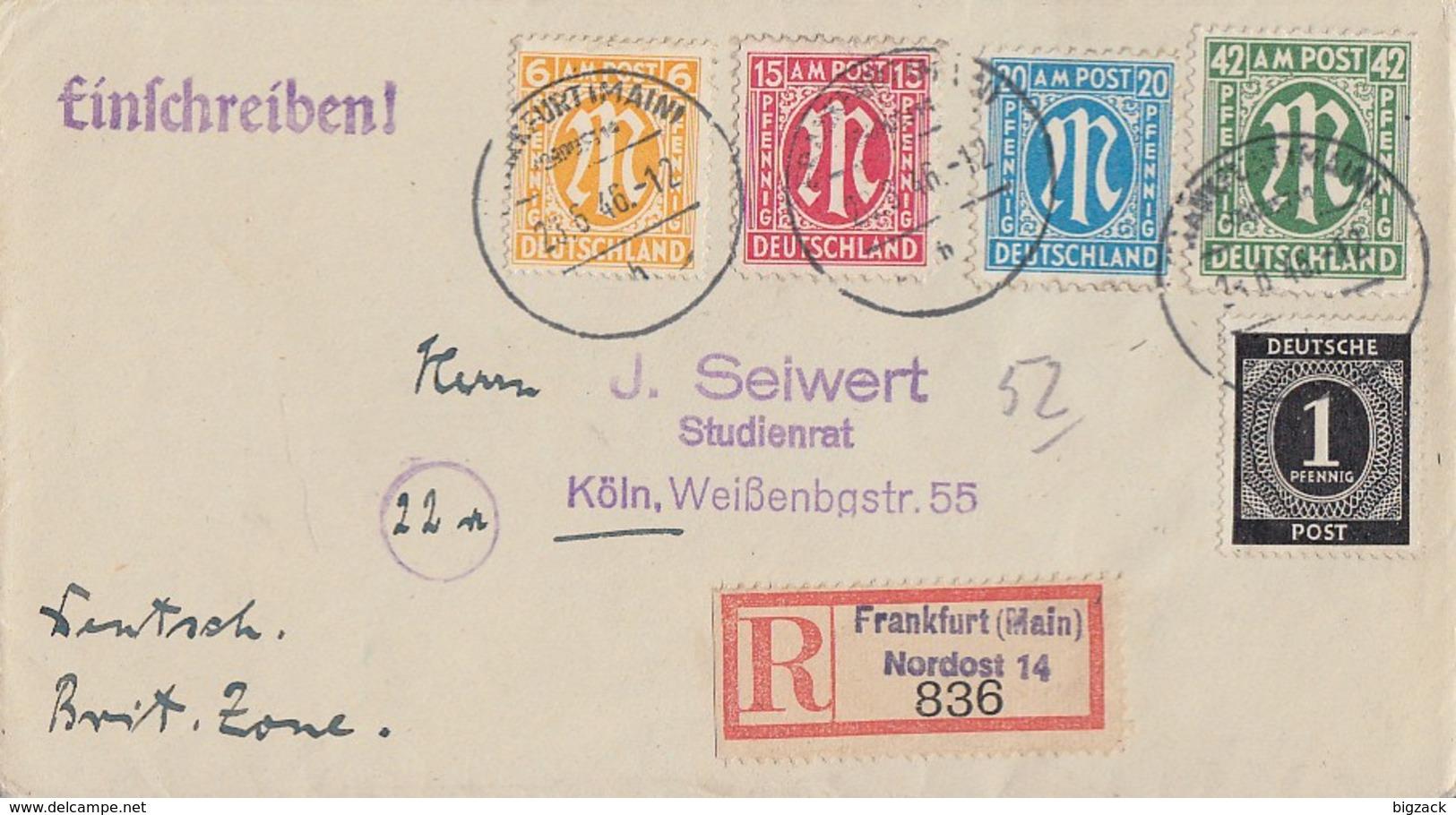 AM-Post R-Brief Mif Minr.8,13,26,31 Gemeina.911 Frankfurt 23.6.46 Gel. Nach Köln - Bizone