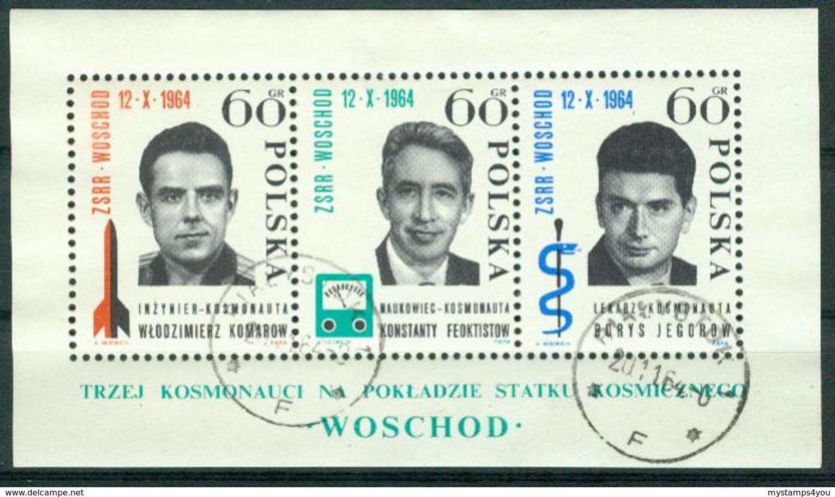 BM Polen 1964 | MiNr Block 35 (1538-1540) | Used | Start Des Sowjetischen Weltraumschiffes Woschod - Blocks & Sheetlets & Panes