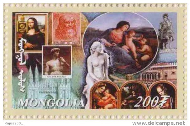 Leonardo Da Vinci, Mona Lisa, David By Michelangelo Religious Painting MNH Mongolia - Otros