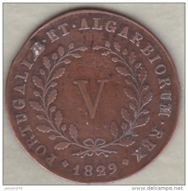 Portugal . 5 Reis 1829. Miguel I.  KM# 389 . RARE - Portugal