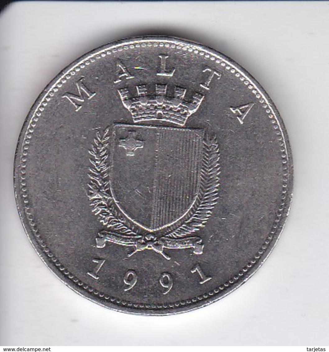 MONEDA DE MALTA DE 1 LIRA MALTESA DEL AÑO 1991 (COIN)  PAJARO-BIRD - Malta