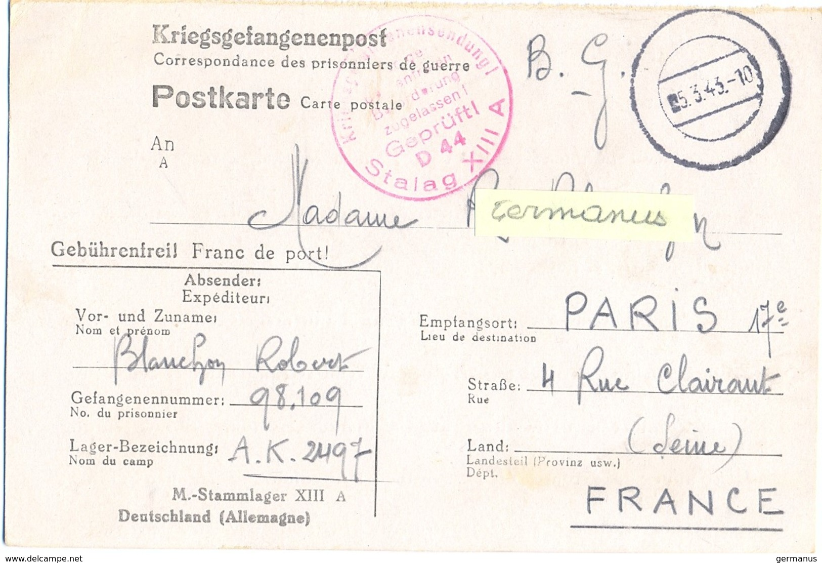 GUERRE 39-45  COR. DES PRISONNIERS DE GUERRE STALAG XIII /A Bad Sulzbach - Rédigé Le 15-2-1943 - Marcophilie (Lettres)