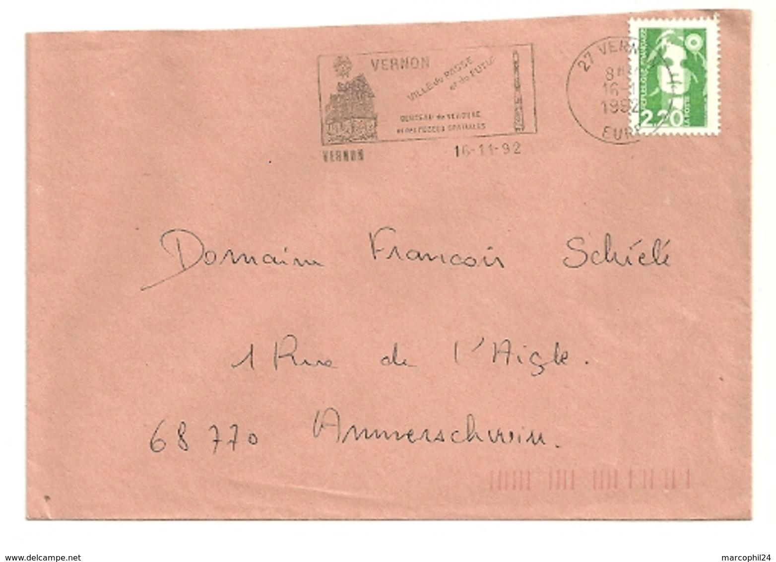 EURE - Dépt N° 27 = VERNON 1992 = Flamme Type II = SECAP Illustrée ' BERCEAU Des Fusées Spatiales ' - Mechanical Postmarks (Advertisement)