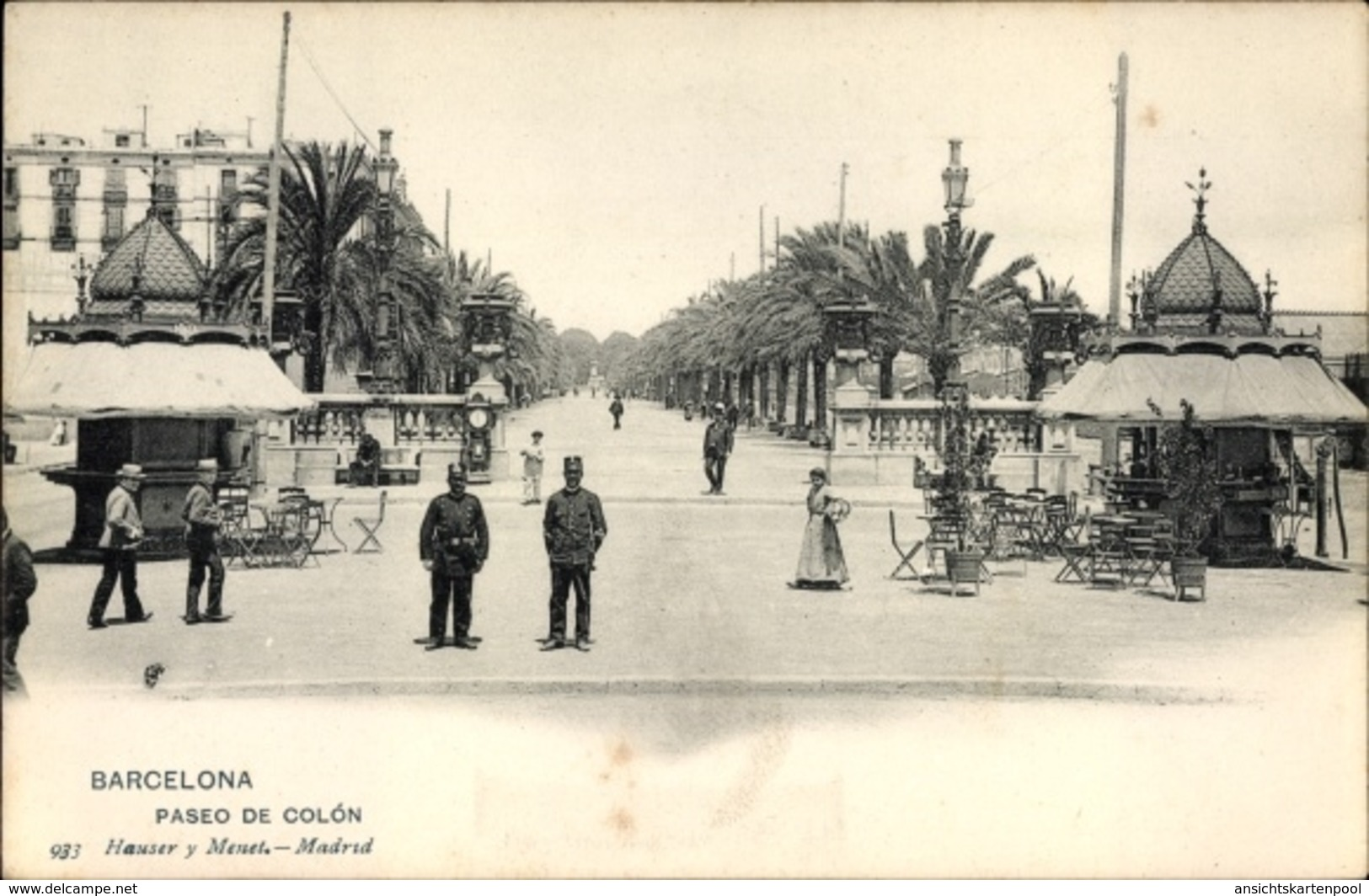 Cp Barcelona Katalonien, Paseo De Colón, Palmen, Platz, Passanten - Espagne