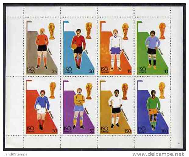 57432 Iso - Sweden 1974? Football World Cup Perf Sheetlet Containing Set Of 8 Values Unmounted Mint - Copa Mundial