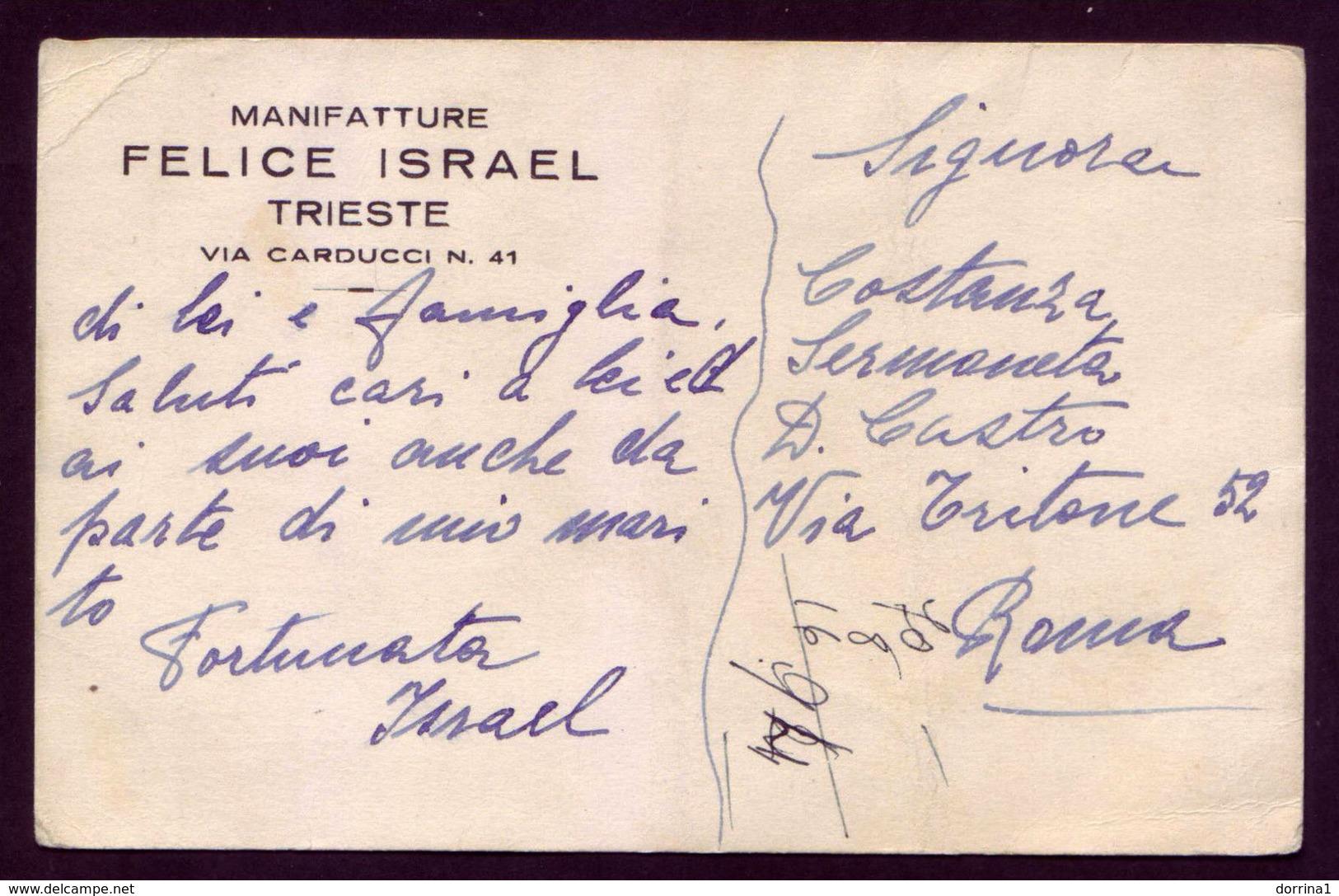 Judaica Jewish Juif Judaisme Postcard Trieste Italy - FELICE ISRAEL - Trieste