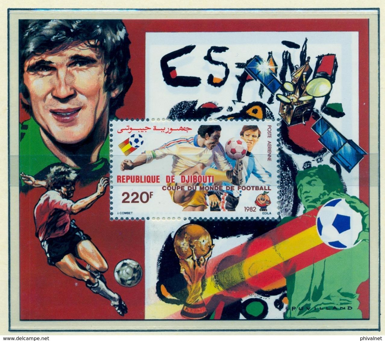 CAMPEONATO DEL MUNDO DE FÚTBOL , ESPAÑA 82 , HOJA BLOQUE ** , EXCELENTE CALIDAD ,  DJIBOUTI - Fußball-Weltmeisterschaft