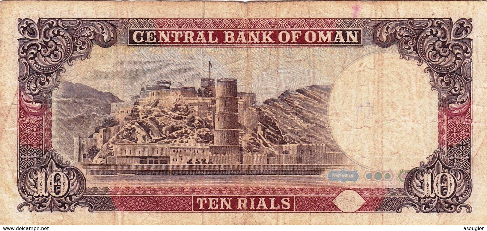 "OMAN 10 RIALS 1987 ""PREFIX 1"" F-VF P-28a  ""free Shipping Via Registered Air Mail"" - Oman"