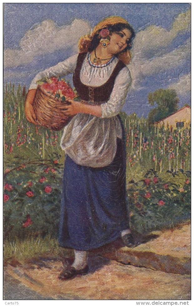Agriculture - Cueillette Fleurs - Femme Jardin - Illustrateur - Cultures