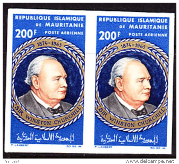 Mauritania (1965) Churchill. Imperforate Pair.  Scott No C43, Yvert No PA47. - Sir Winston Churchill