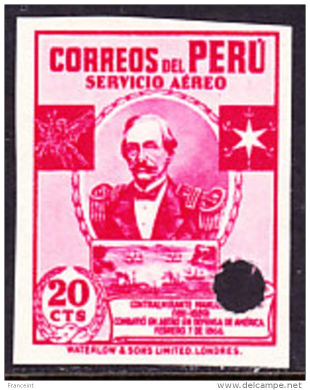 Peru (1938) Rear Admirar Villar. Imperforate Specimen With Control Punch.  Yvert No PA51, Scott No C51. - Peru