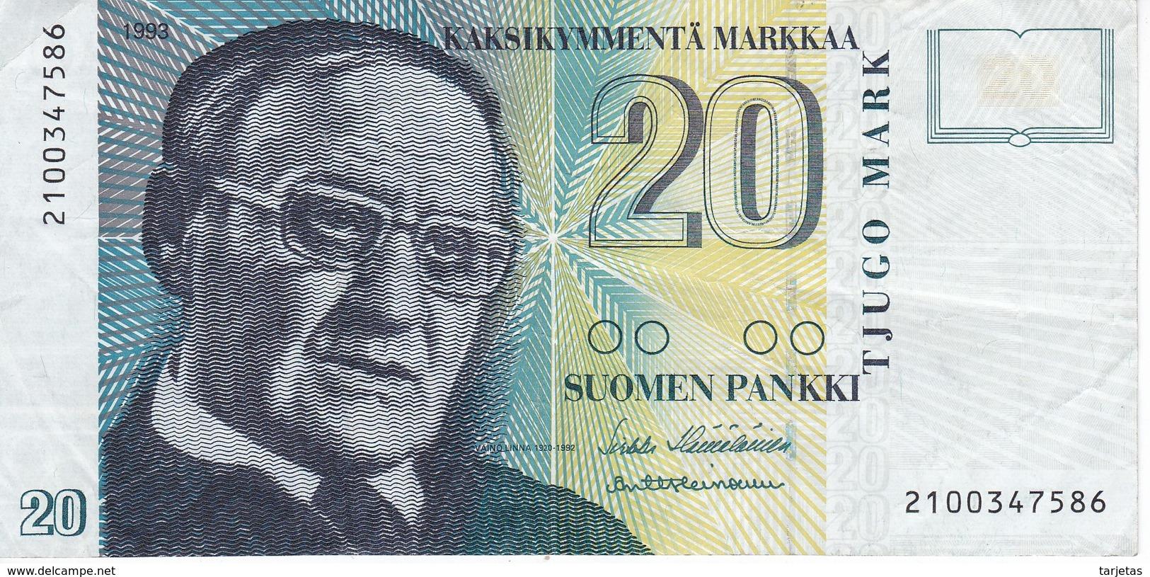 BILLETE DE FINLANDIA DE 20 MARKKAA DEL AÑO 1993  (BANKNOTE) - Finlandia