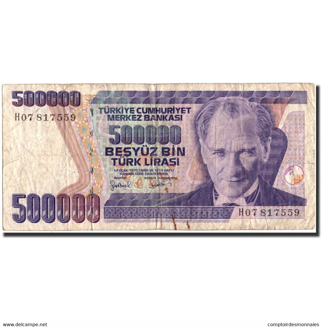 Billet, Turquie, 500,000 Lira, 1970, 1970-10-14, KM:212, B+ - Turquie