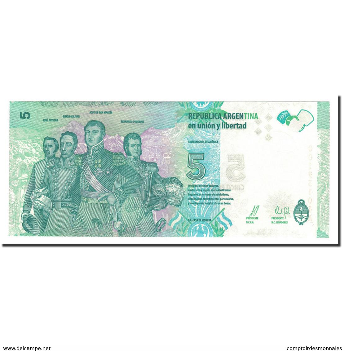 Billet, Argentine, 5 Pesos, 2015, KM:359, NEUF - Argentine