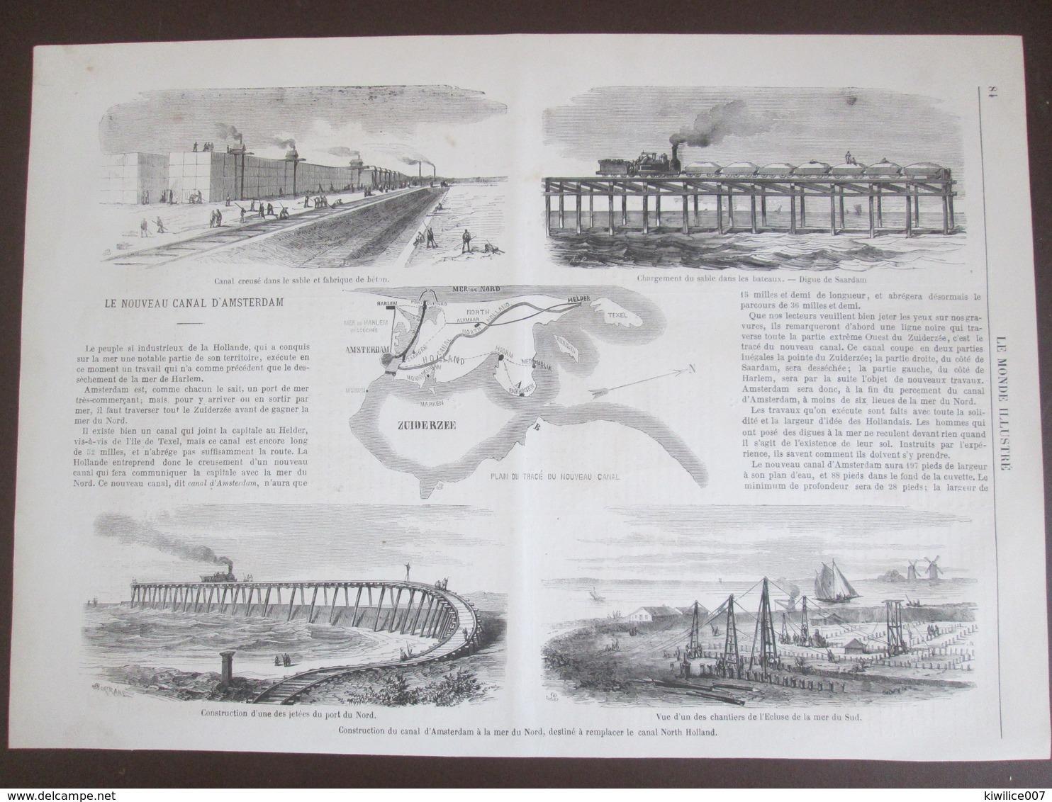 ZUIDERZEE    Gravure 1870    Construction Du Canal  D AMSTERDAM   HOLLANDE  Saardam  Zuiderze - Vieux Papiers