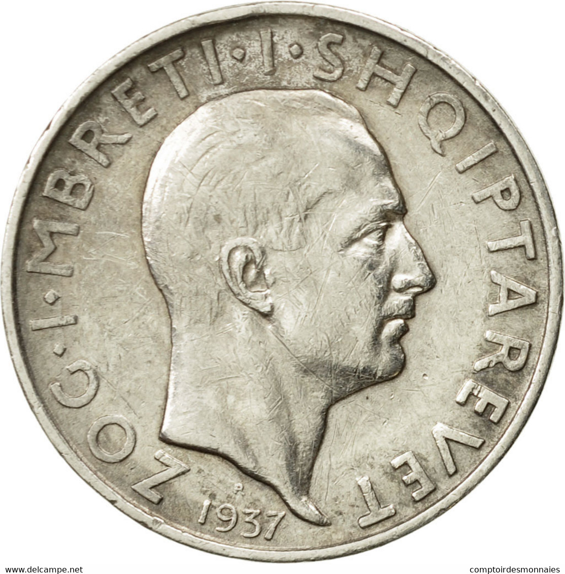Monnaie, Albania, Zog I, Frang Ar, 1937, Rome, TTB+, Argent, KM:16 - Albanie