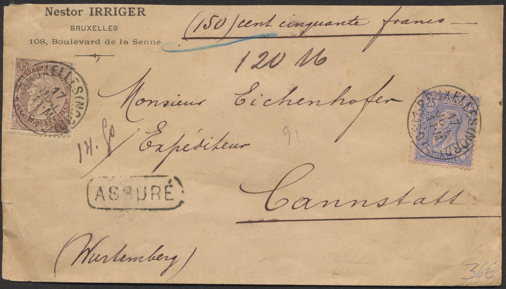 émission 1884 - N°48 Et 49 Sur Lettre Assuré (150 Francs) De Bruxelles (Nord) 17/06/1891 Vers Cannstatt (Allemagne) TB - 1884-1891 Leopold II