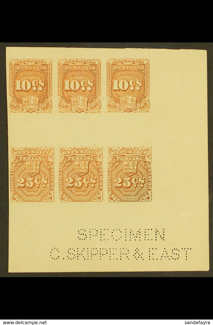 REVENUES  1872 10c & 25c Brown IMPERF PROOFS SE-TENANT BLOCK Of 6 (containing Three 10c And Three 25c Values) From The L - Peru