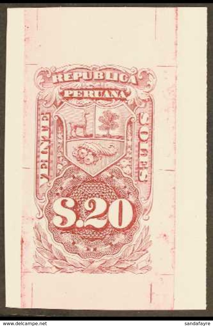 REVENUES  1872 IMPERF DIE PROOF For The 20s Value Printed In Carmine On Thick Paper, Overall Size Approx 40x60mm. Attrac - Peru