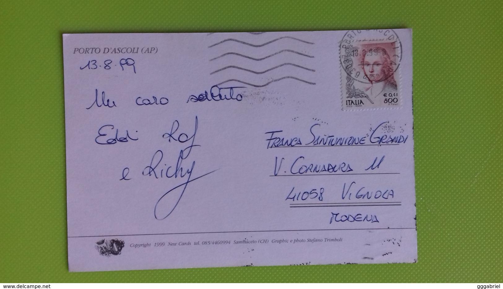 Cartolina PORTO D'ASCOLI - AP - Viaggiata - Postcard - Vedutine In Conchiglia - Ascoli Piceno