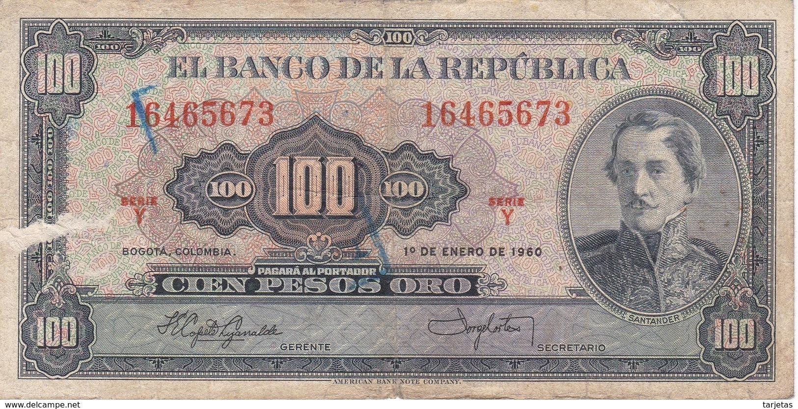 BILLETE DE COLOMBIA DE 100 PESOS DE ORO DEL AÑO 1960  (BANK NOTE) - Colombia