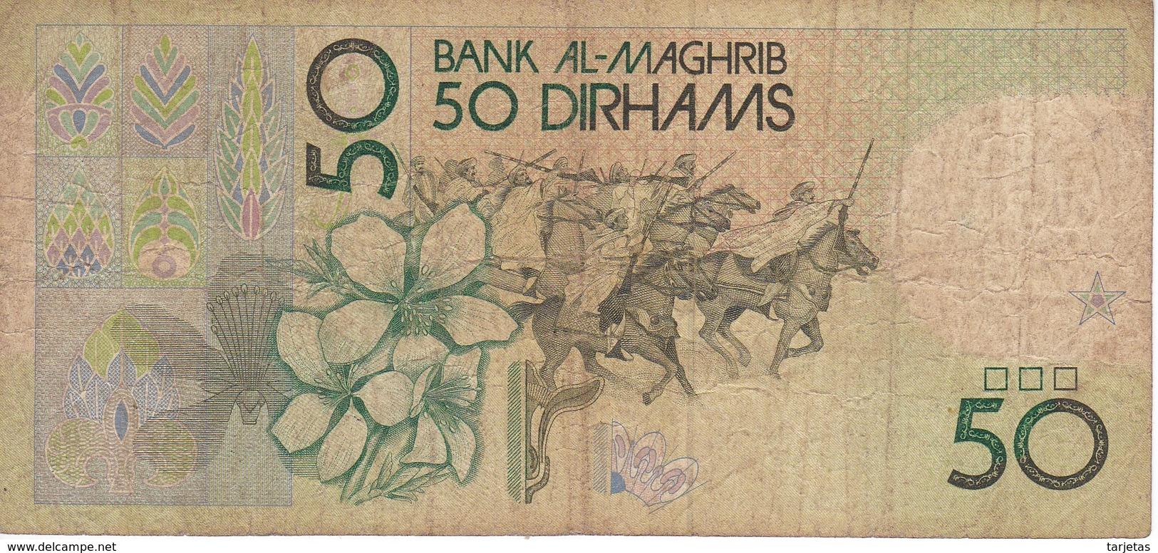 BILLETE DE MARRUECOS DE 50 DIRHAMS DEL  AÑO 1987  (BANKNOTE) - Marruecos