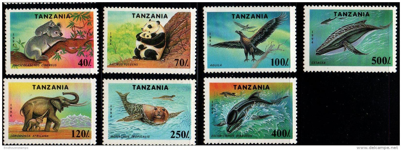 Tanzania 1994, Protected Animals 7 Values MNH Koala, Panda, Golden Eagle, African Elephant, Monk Seal, Gray Whale, Whale - W.W.F.