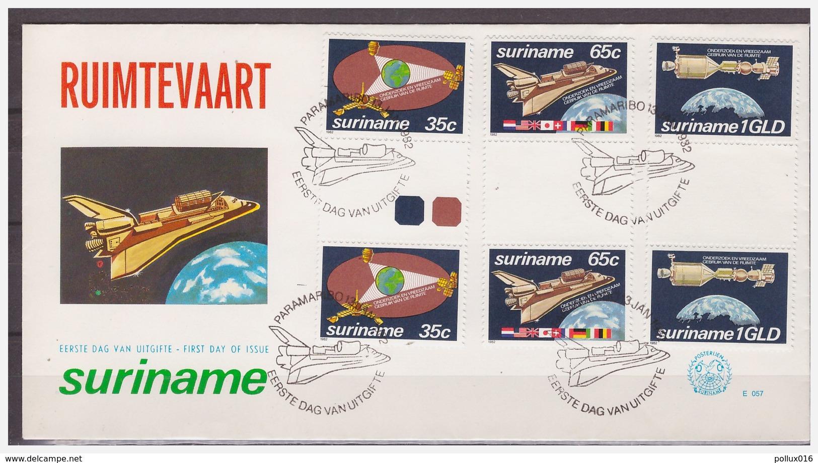 Surinam / Suriname 1982 FDC 57 BP Space Shuttle Spacetravelling Raumfahrt Aerospatiale - Surinam