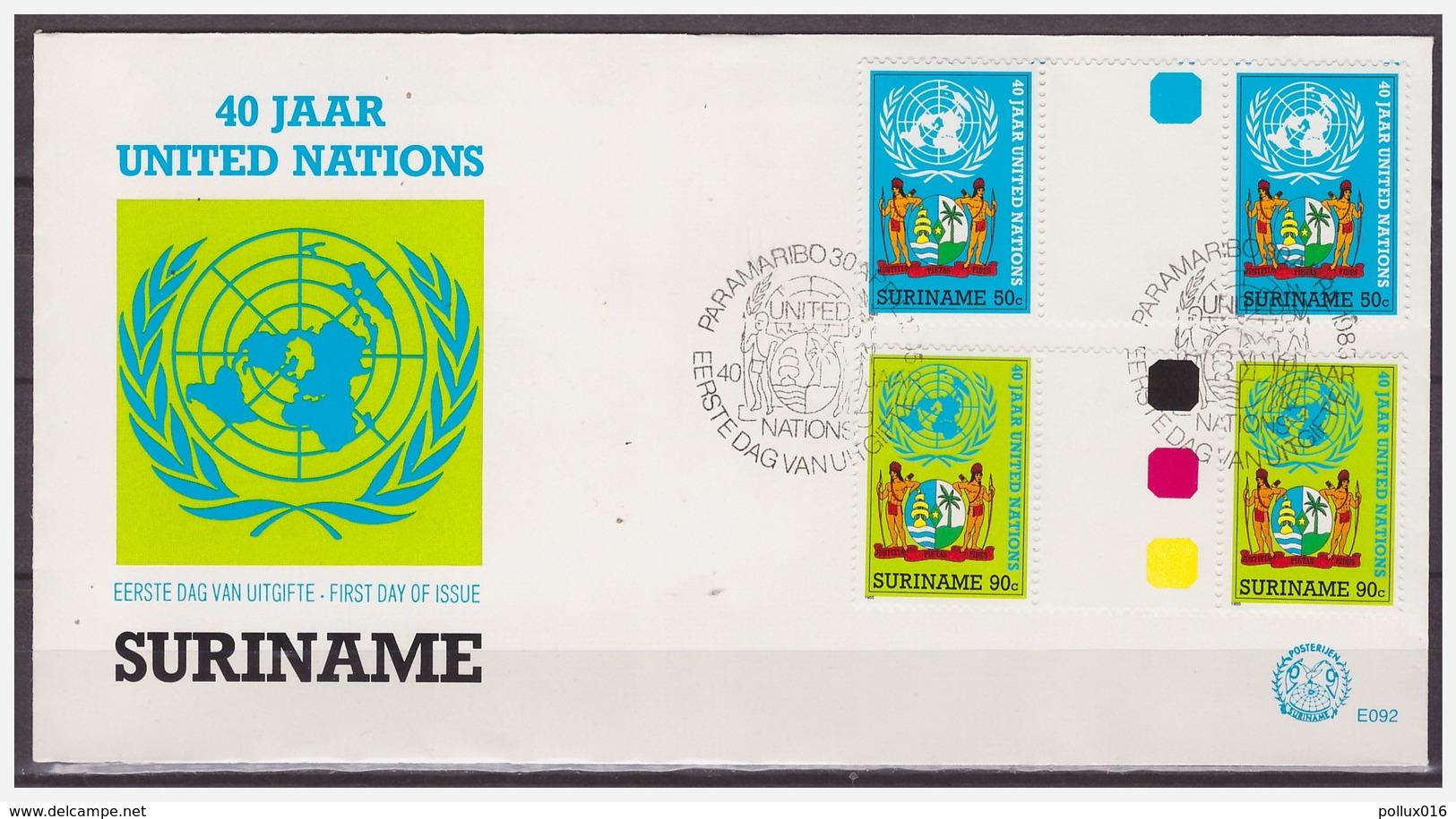 Surinam / Suriname 1985 FDC 92 BPA United Nations Vereinten Nationen Nations Unies Gutterpair - Surinam
