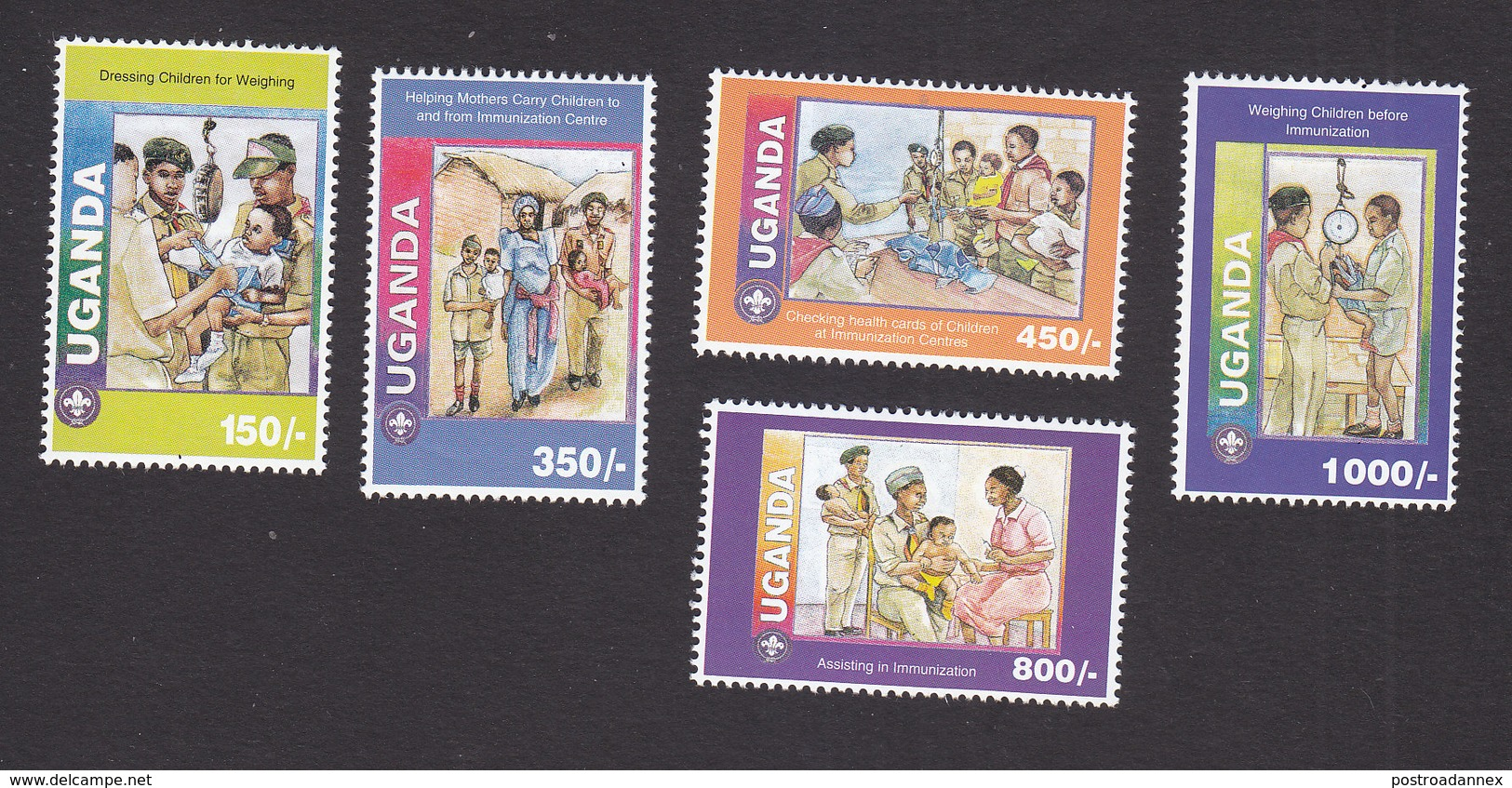 Uganda, Scott #1369-1373, Mint Hinged, Boy Scouts, Issued 1995 - Uganda (1962-...)