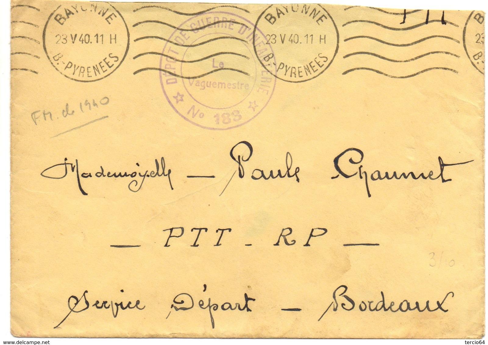 """Marque De Franchise Militaire """"Dépôt De Guerre D'infanterie N° 183"""" Le Vaguemestre. Datée Du 23/05/1940 Bayonne - Marcophilie (Lettres)"""