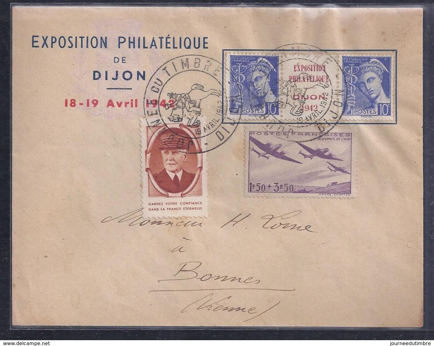 Enveloppe Locale Exposition Philatelique Journee Du Timbre 1942 Dijon  Tryptique Mercure Petain Vignette Oeuvres Air - France