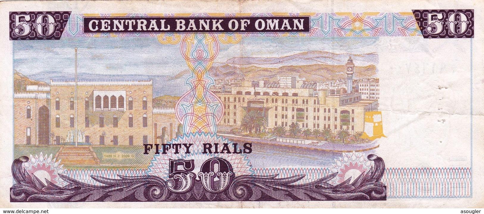 "OMAN 50 RIALS 2000 ""PREFIX 1"" F-VF P-42  ""free Shipping Via Registered Air Mail"" - Oman"